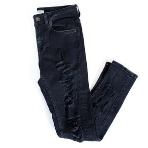 Zara Distressed Black Jeans (Womens, Size 4)